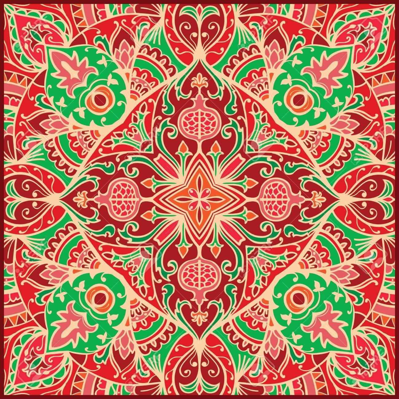 Vector Vintage Bunte Verzierung Vorlage Fur Den Teppich Mosaik