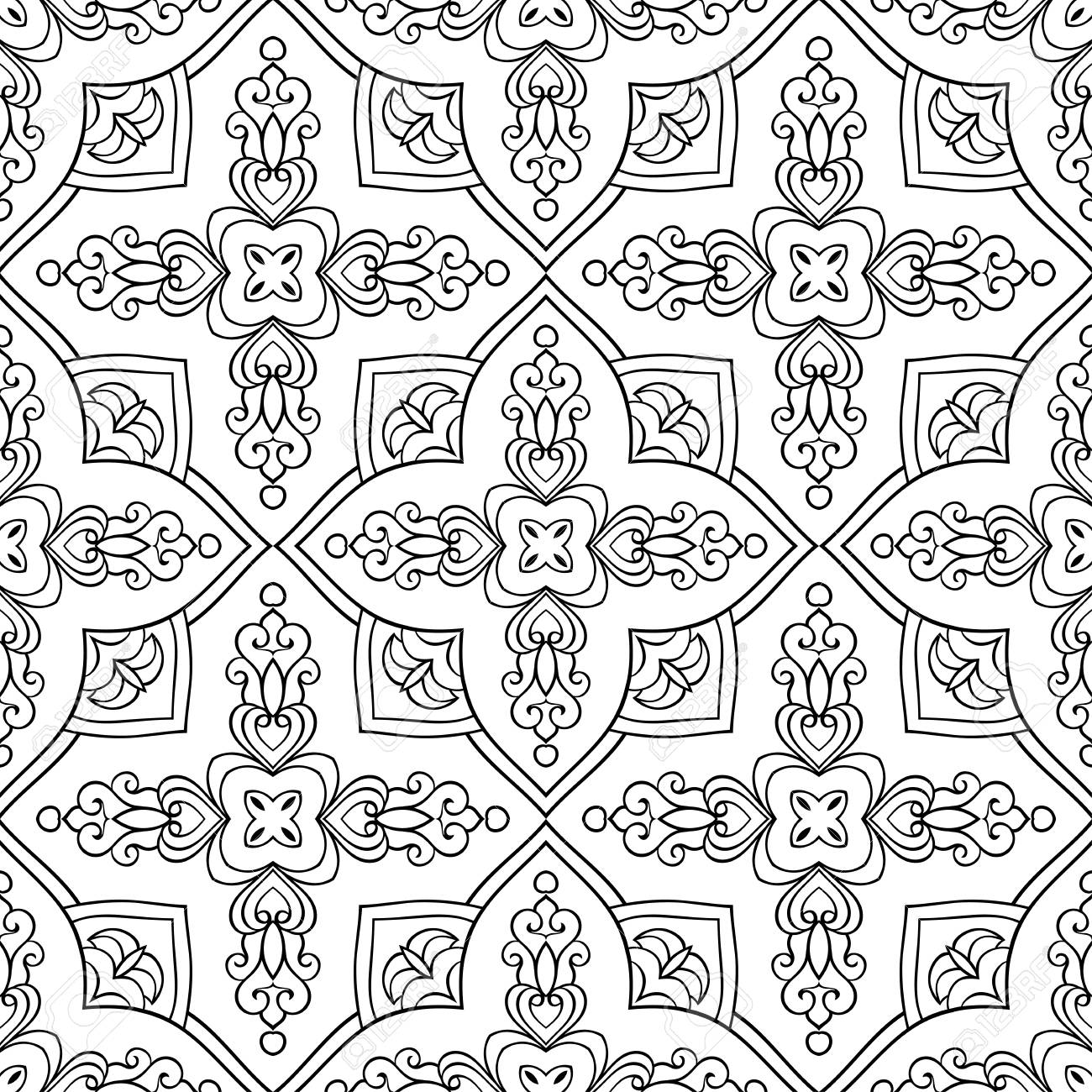 Oriental Seamless Ornamental Pattern Black And White Background Royalty Free Cliparts Vectors And Stock Illustration Image 65430407