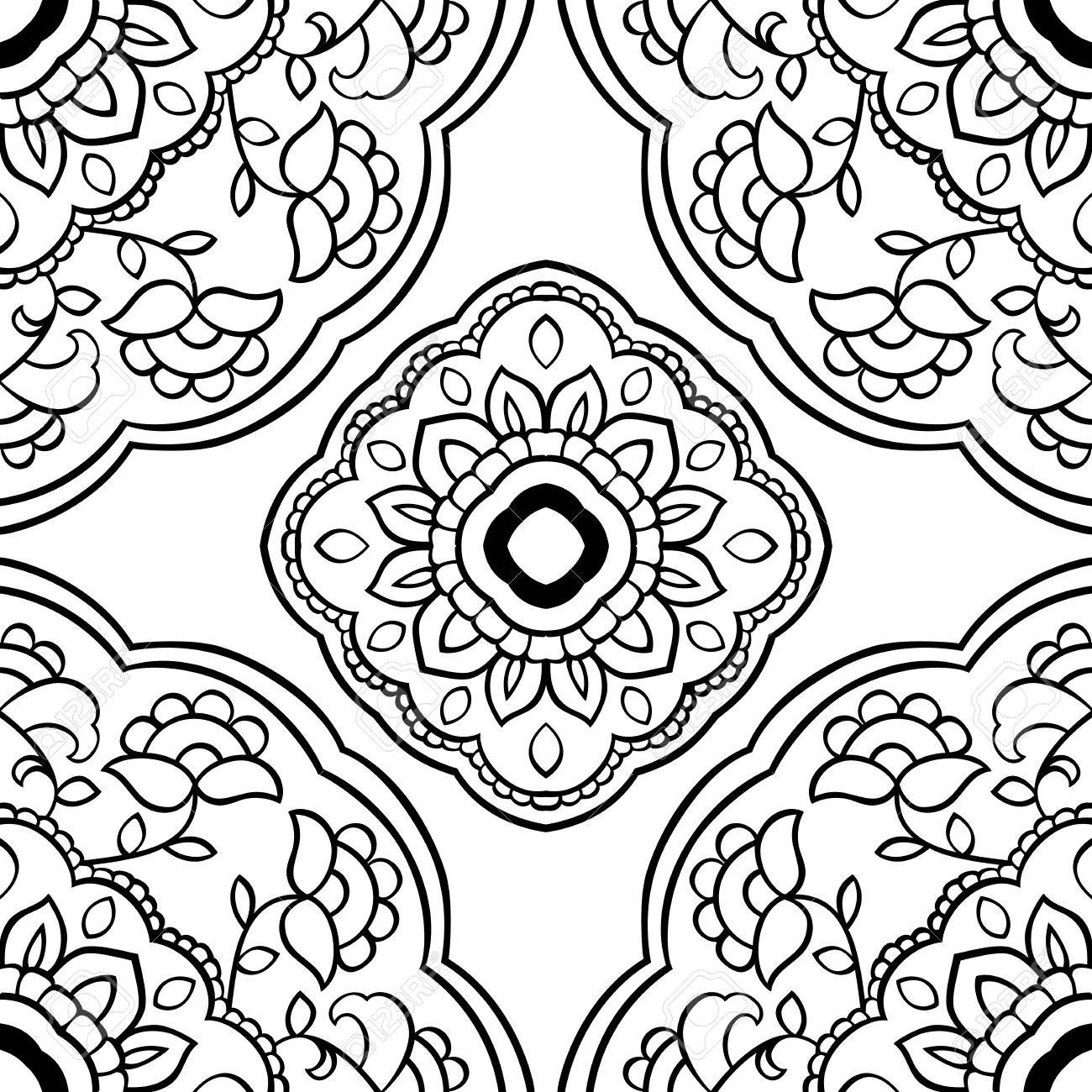 Seamless background  The pattern with floral simple mandalas