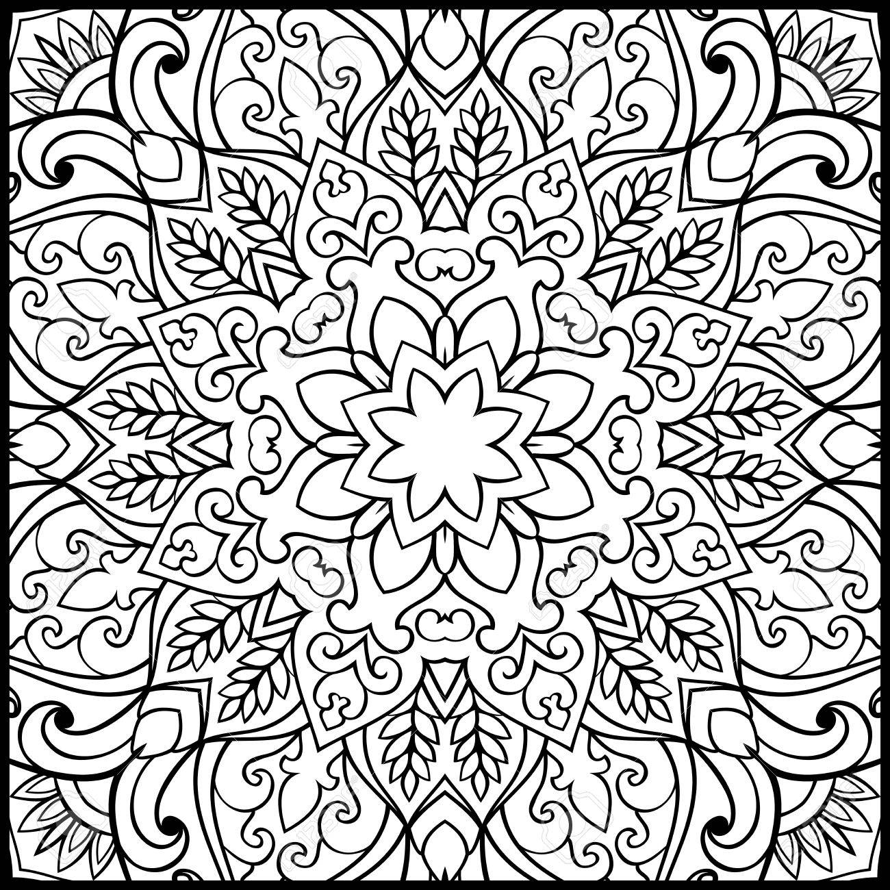 Patrón De Mandala Simbólica Sobre Un Fondo Blanco. Ornamento ...