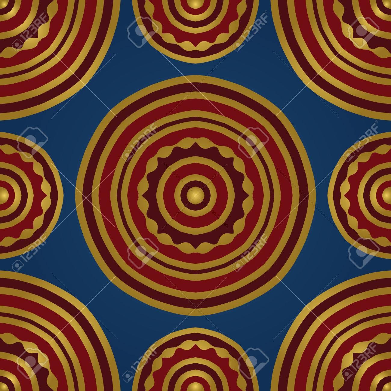 Sin Patrón De Mandala De Color Rojo Sobre Un Fondo Azul. Simple ...