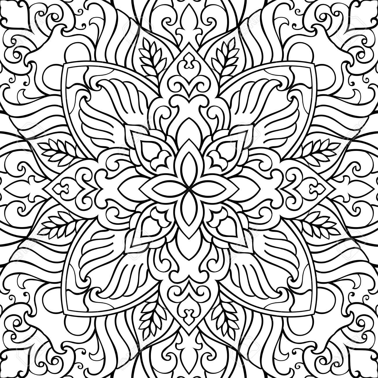 Pattern Of Symbolic Mandala On A White Background. Oriental Ornament ...