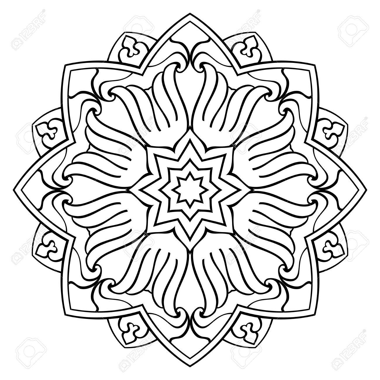 simple mandala on a white background  Oriental ornament  Round