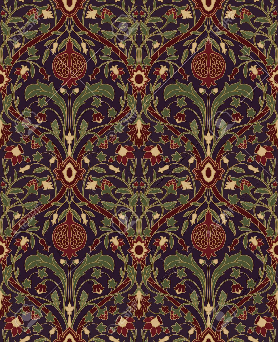 Dark Floral Pattern Seamless Rich European Ornament Of The