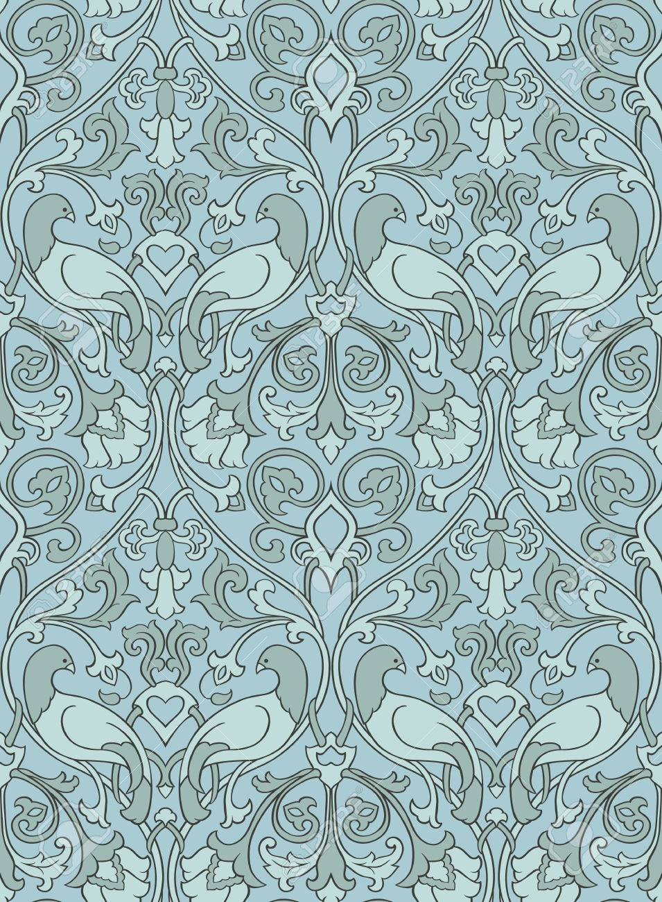Blue And Gray Floral Pattern Seamless Filigree Ornament Stylized