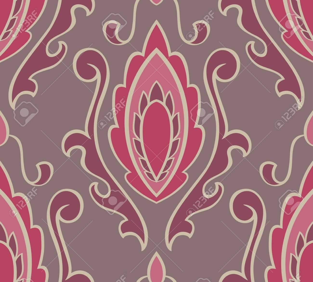 Fond Gris De Vecteur Avec Damasse Rose Ornement Oriental Sans