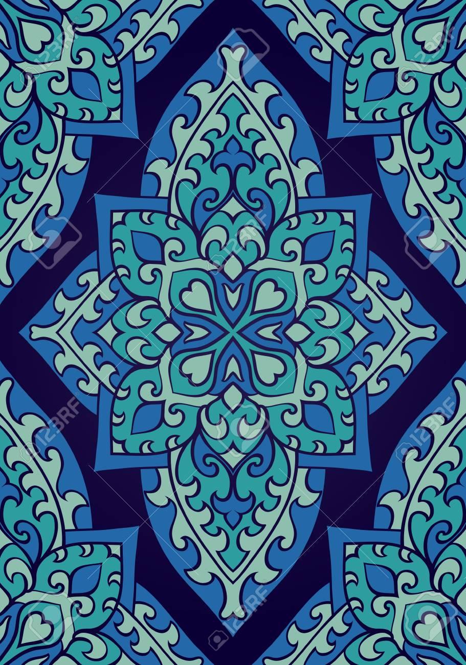 Ornement Bleu Oriental Modele Pour Tapis Textile Papier Peint