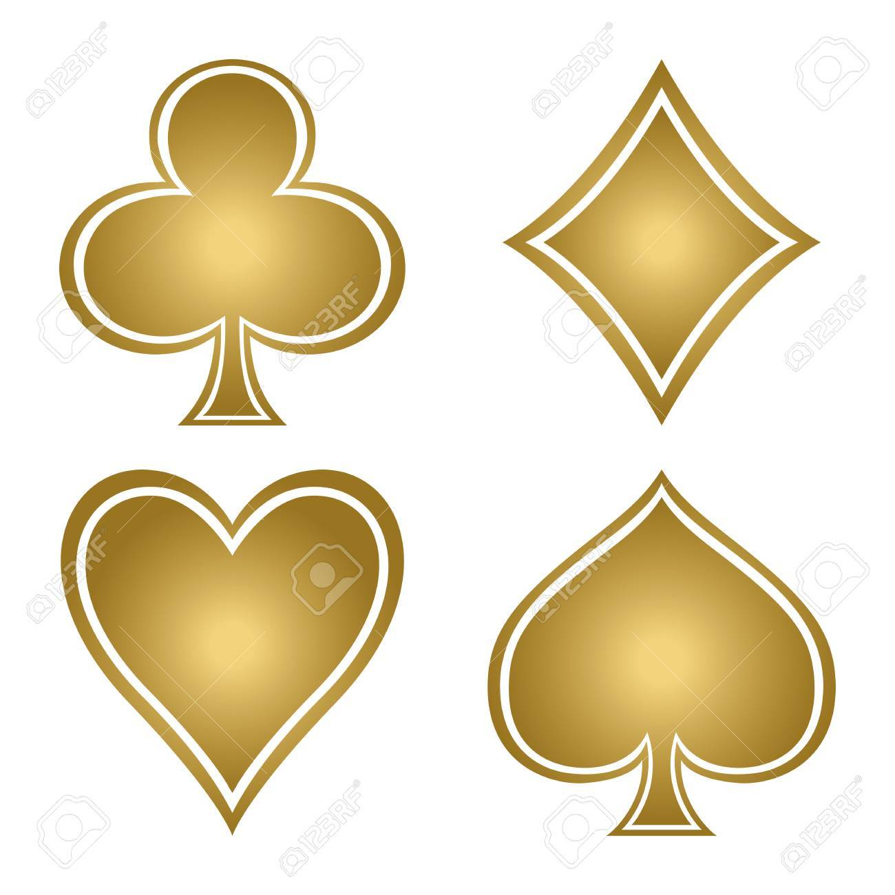 gold spade card  Set with gold suits of playing cards. Club, diamond, spade, heart.