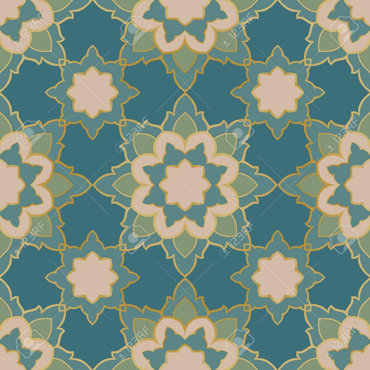 Modèle Sans Couture De Mandala Simple Sur Fond Bleu Ornement