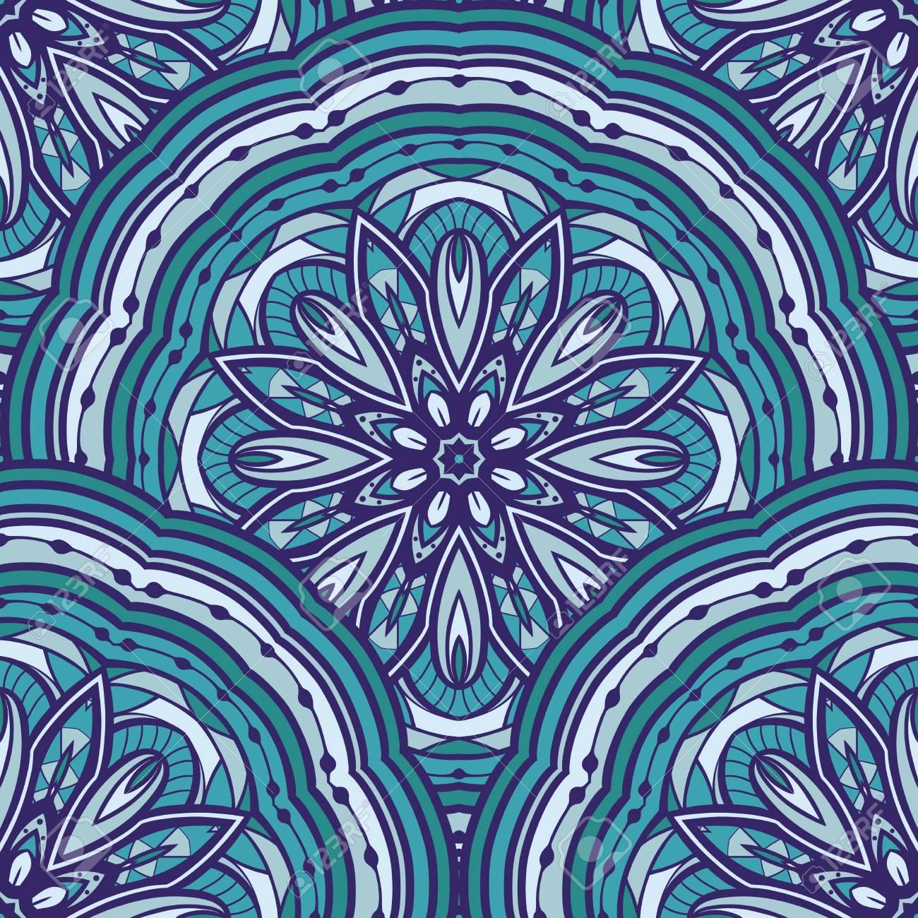 Azul Sin Patrón De Mandalas Ornamento De Elementos Decorativos