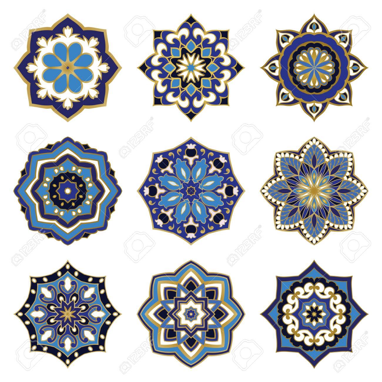 Conjunto De Mandalas De Colores De Vectores. Colección De Ornamentos ...