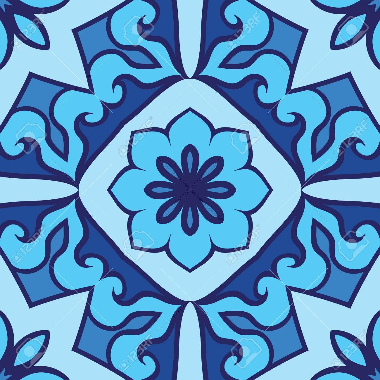 Oriental motif ornemental sans soudure. Vector fond bleu. Modèle pour les  tapis, revêtements de sol, carrelage, textile.