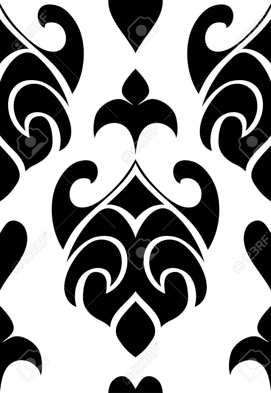 Motif Abstrait Oriental. Modèle Noir Et Blanc Pour Tapis, Papiers ...