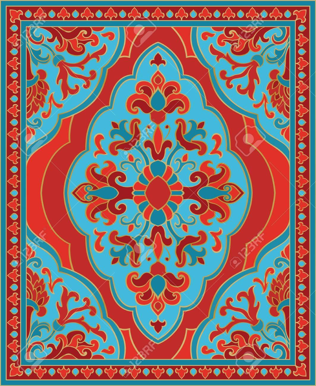 Ornement Abstrait Oriental Modèle Rouge Et Turquoise Pour Tapis