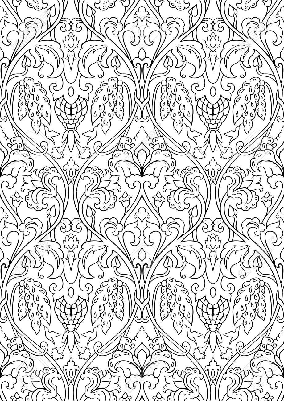 schwarz wei blumenmuster nahtlose filigrane verzierung stilisierte vorlage fr tapete textil - Tapete Schwarz Weis Muster