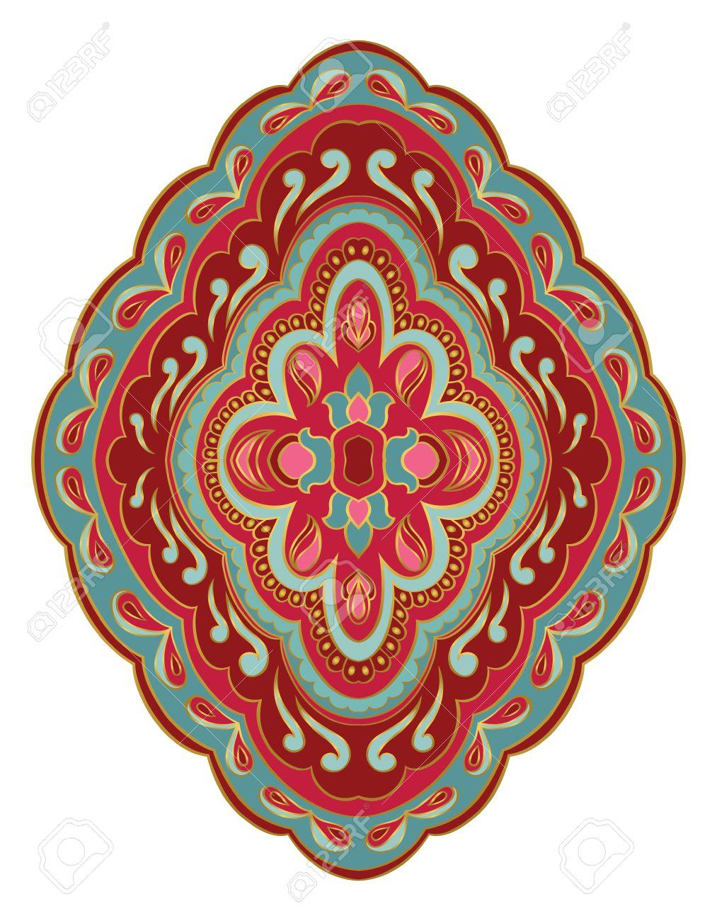 Medaillon Rouge Et Turquoise Pour Le Design Modele Pour Tapis