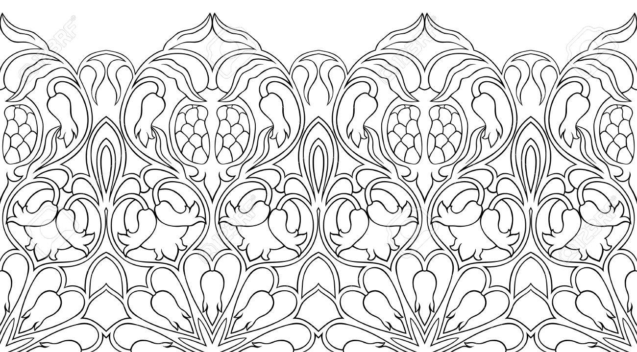 Abstract Floral Pattern Vector Black And White Border With Pomegranates