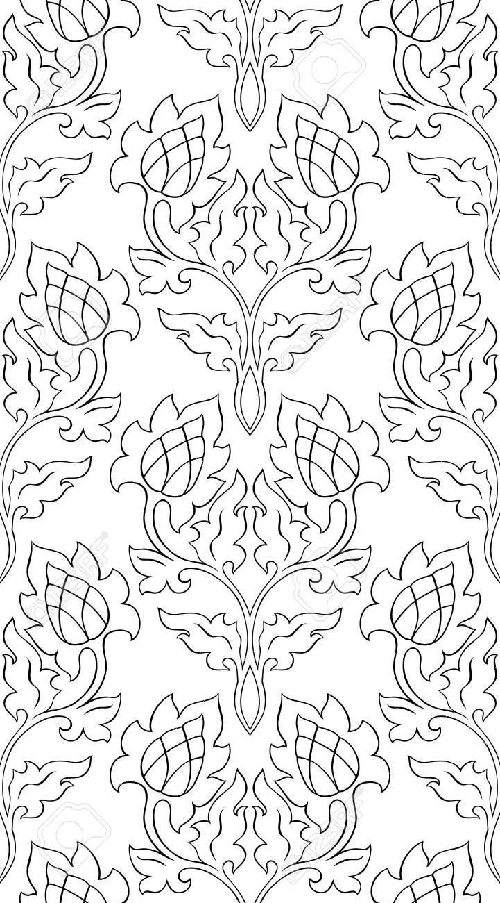 Patrón Floral Abstracto. Ornamento Sin Costuras Plantilla En Blanco ...