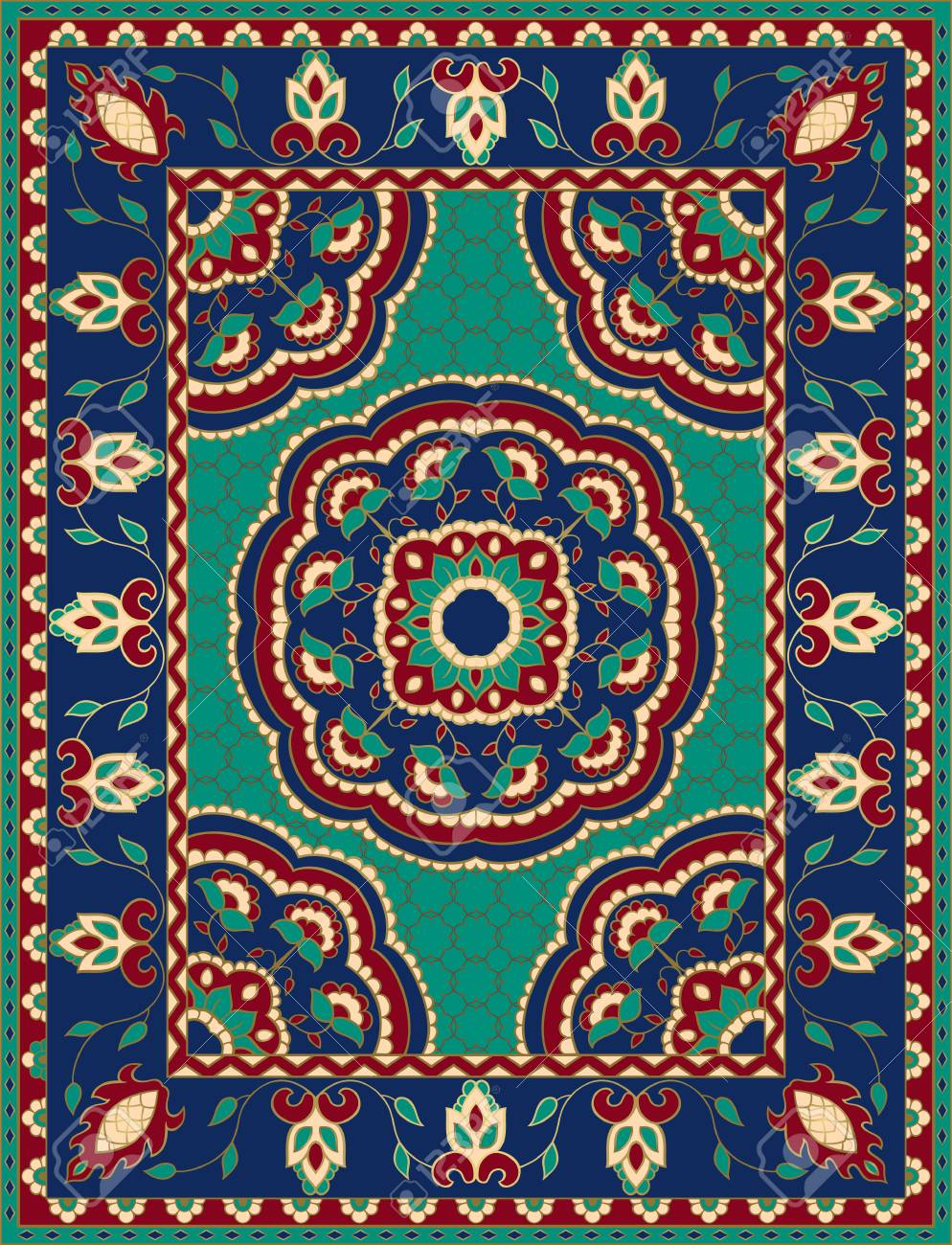 Colorful template with mandalas for carpet, textile. Oriental floral pattern with frame. - 125581312
