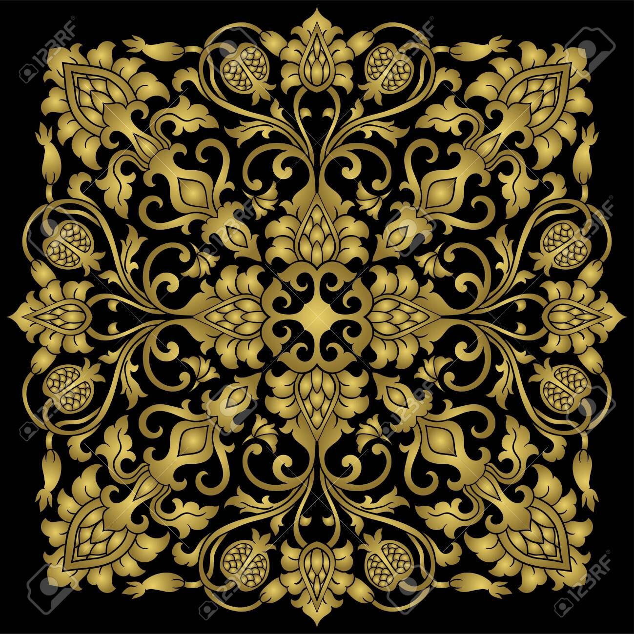 Floral Medallion For Design Template For Carpet Wallpaper Royalty Free Cliparts Vectors And Stock Illustration Image 138322239