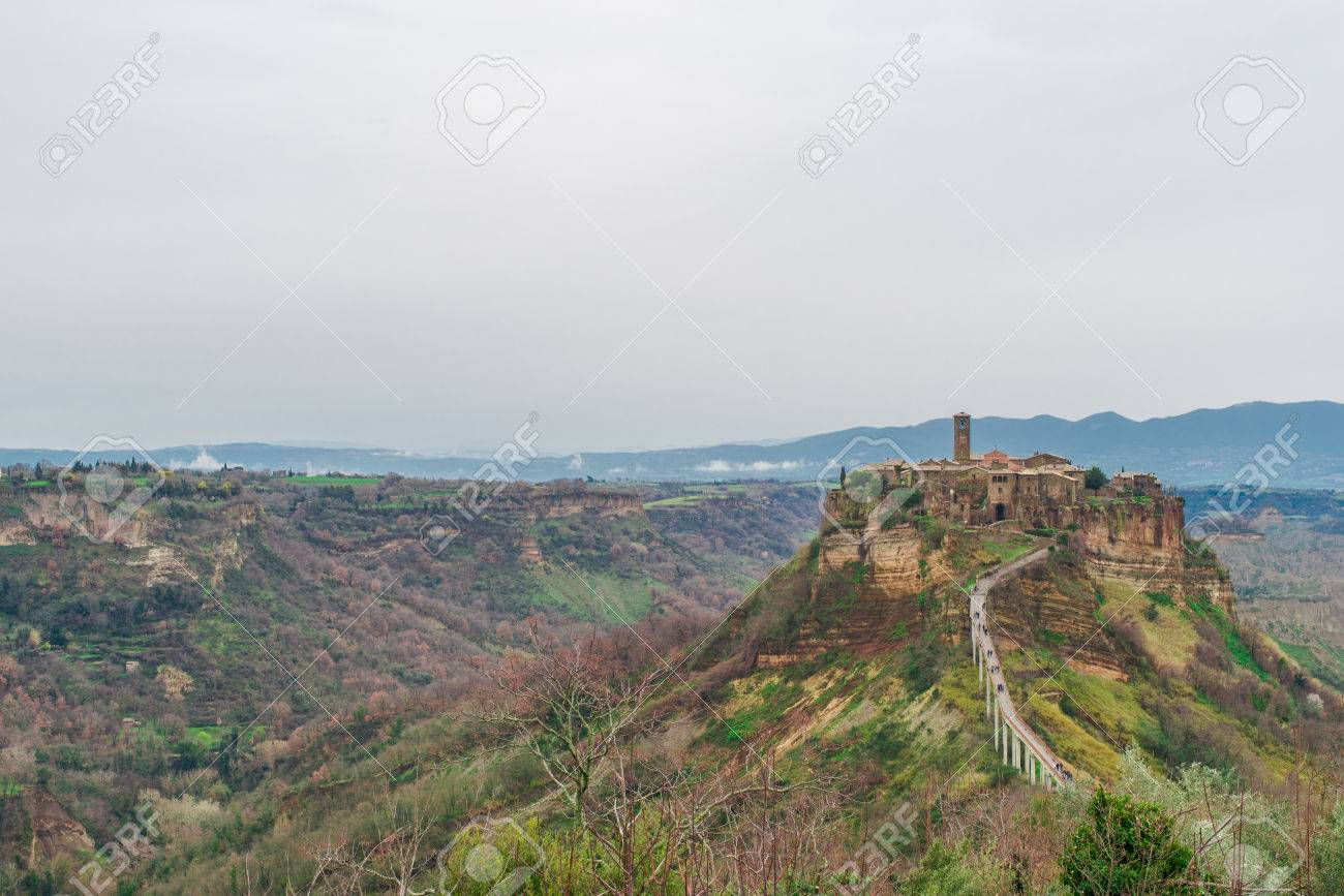 Panoramic View Of Civita Di Bagnoreggio, The Dying City. Italy Stock ...