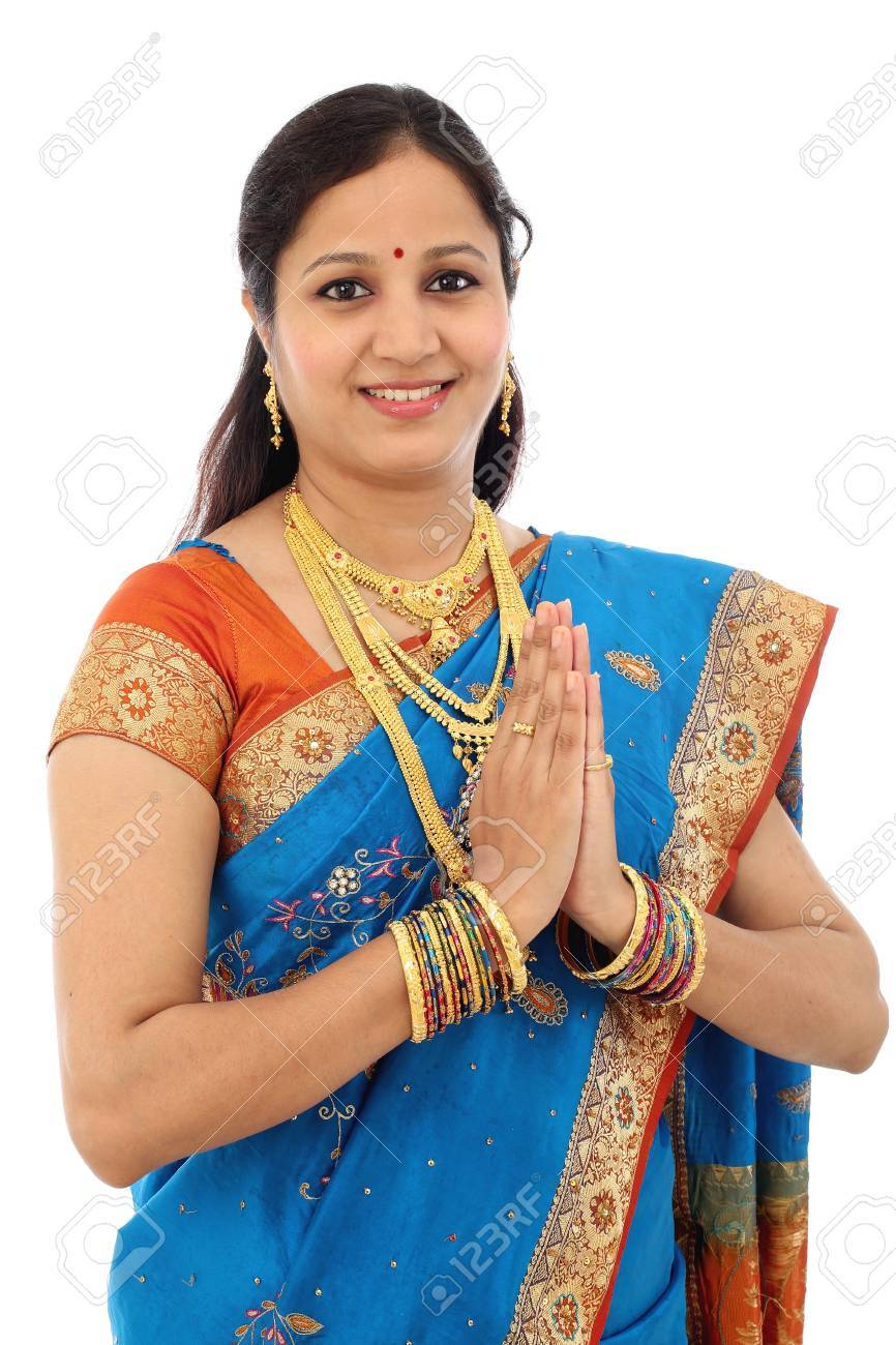 Traditional Indian Woman Woman Greeting Namaste Stock Photo Picture