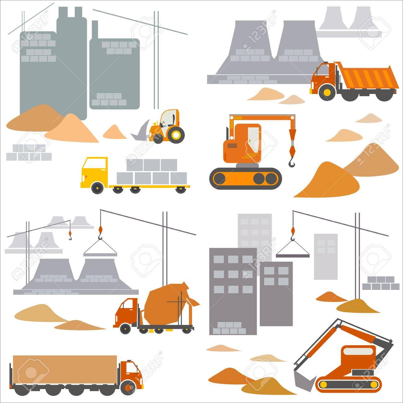 輸送業および建設工事現場ベクトル イラストのイラスト素材ベクタ