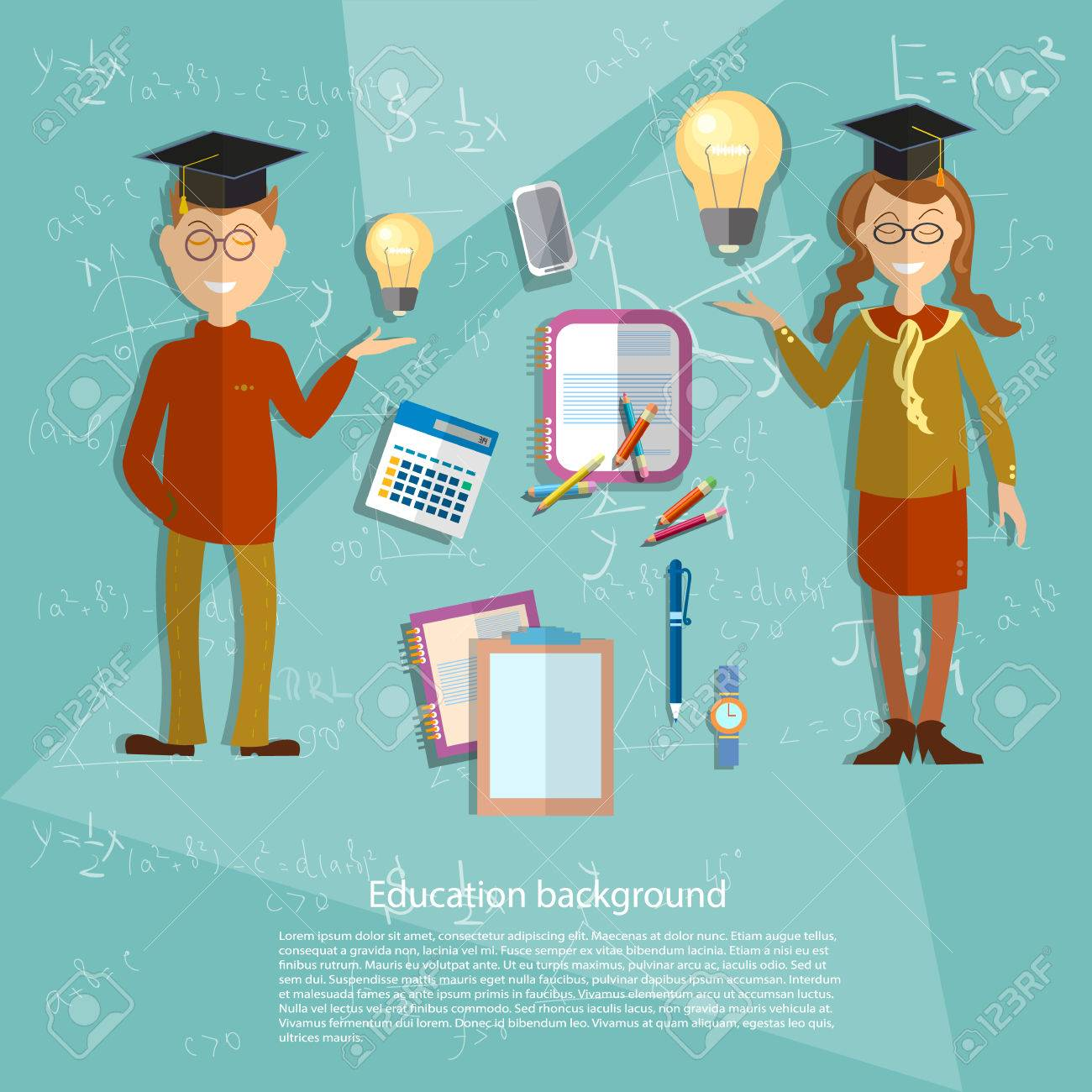 Education concept schoolboy, schoolgirl, school subjects, textbooks,