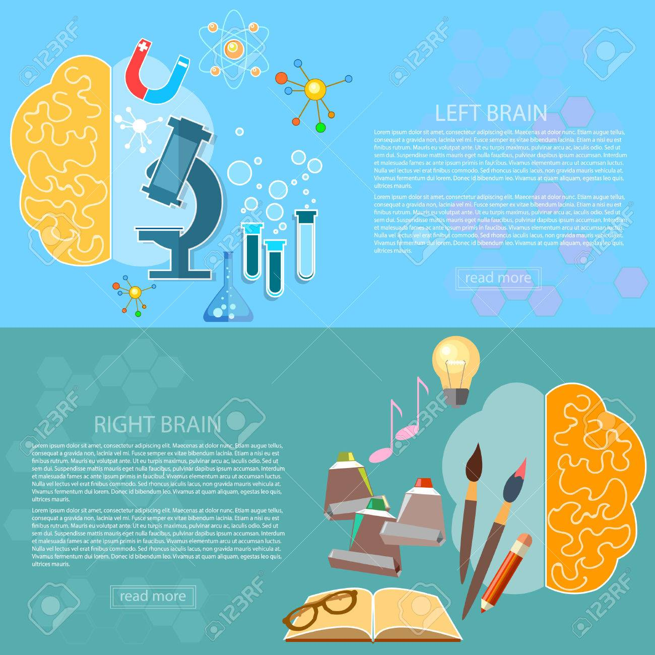 Left And Right Brain Art Creativity Of Logic Analysis Creative Concept Vector Banners Stock
