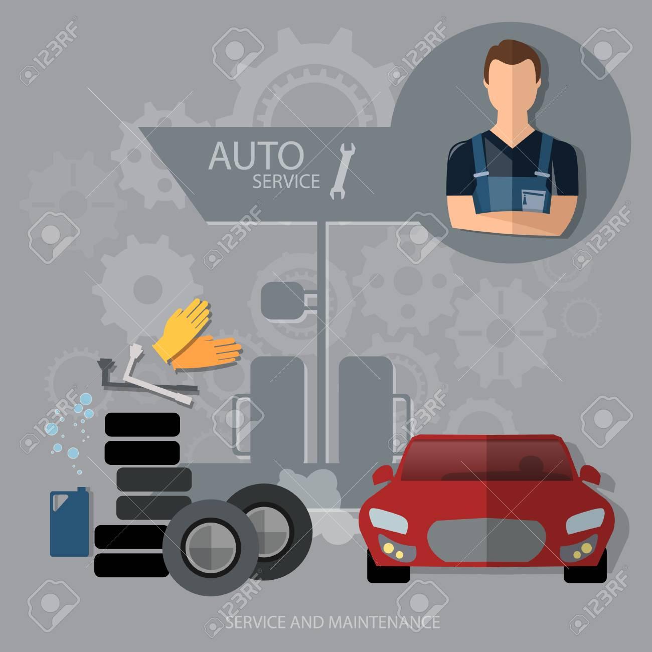 auto service concept car diagnostics tire oil change professional