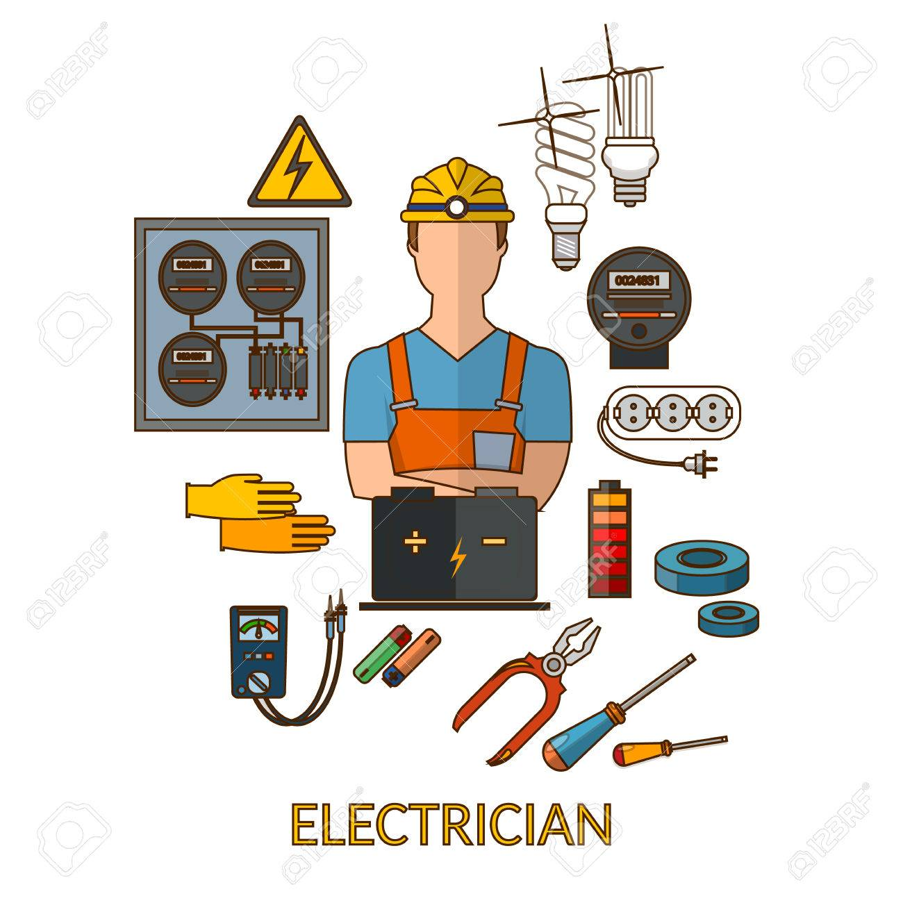 Professional Electrician With Electricity Tools Silhouette Vector Illustration Stock
