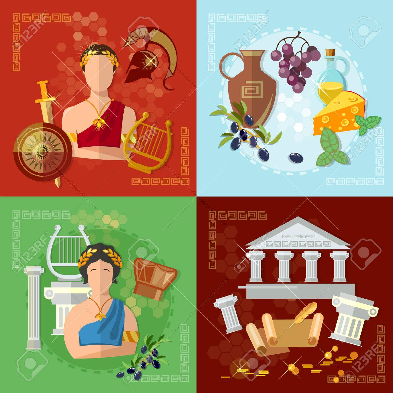 Ancient Greece and Rome tradition and culture vector set collection - 52596474