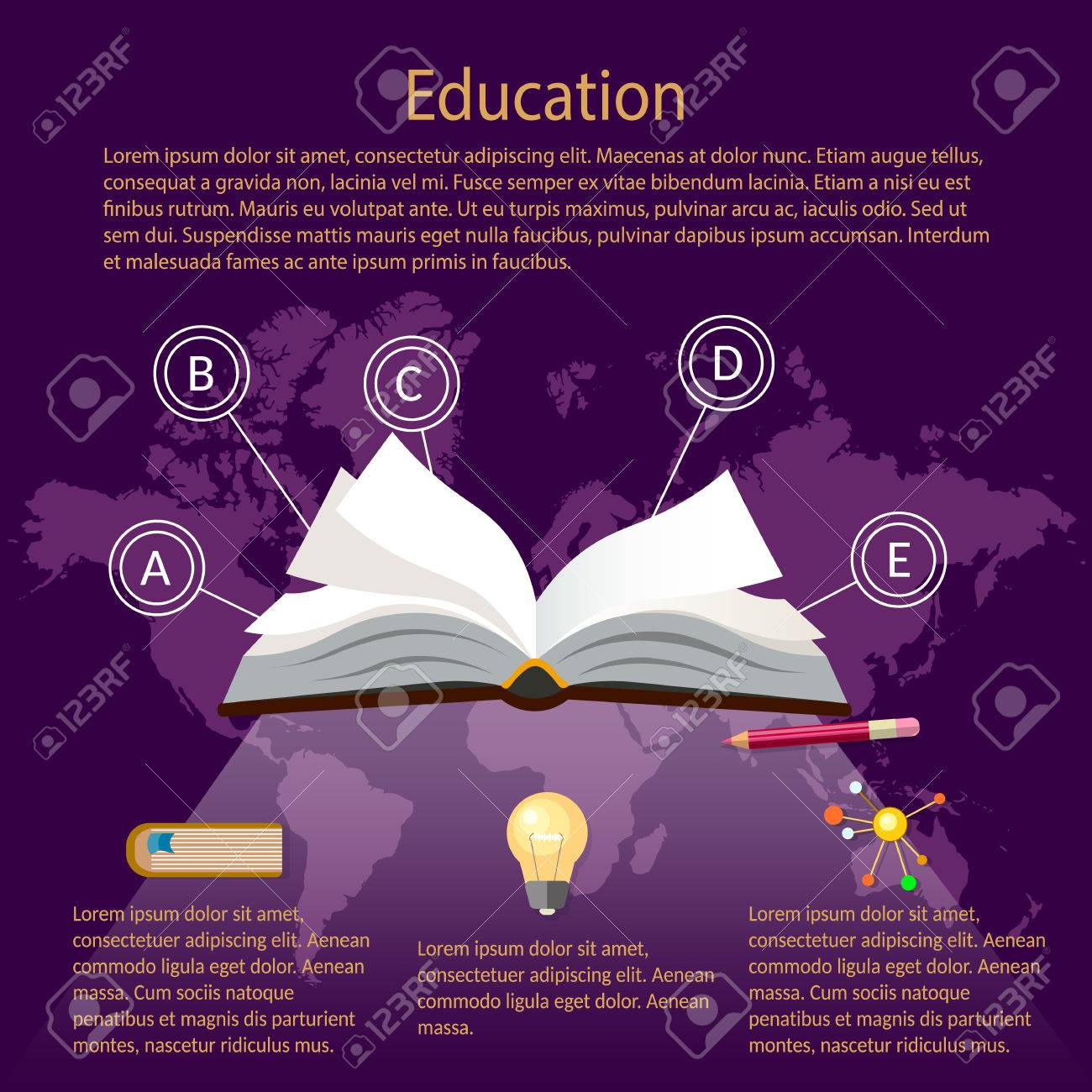 Education infographics open book of knowledge world map purple education infographics open book of knowledge world map purple background vector illustration stock vector 53929458 gumiabroncs Image collections