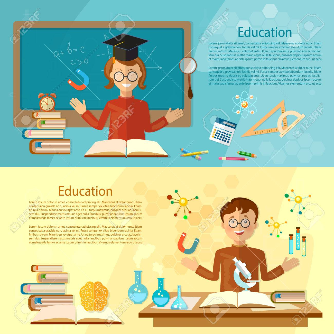 Education Banners Student At The School Board Back To School Royalty Free Cliparts Vectors And Stock Illustration Image 59034738