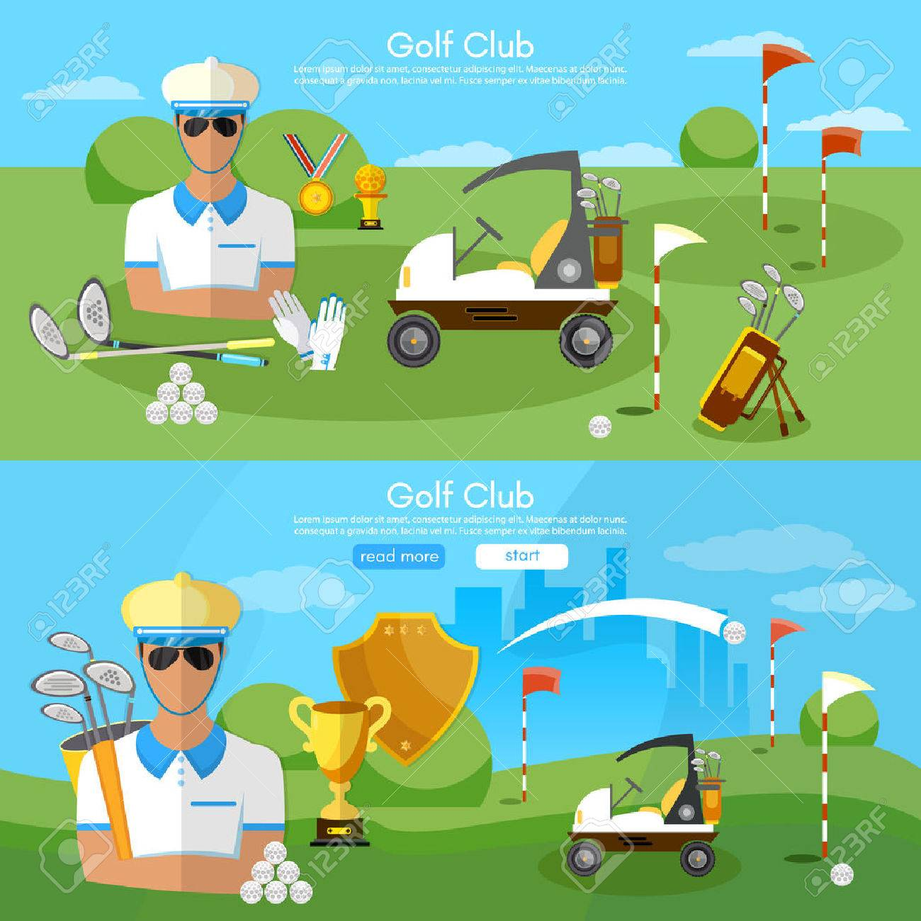 Golf club banners golfing elements game of golf man playing golf vector illustration - 59037513