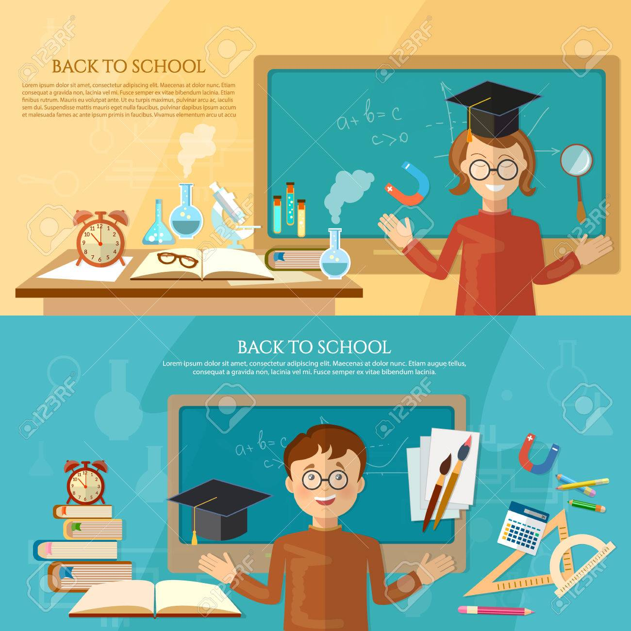 Education Banner Back To School Student At The School Board Royalty Free Cliparts Vectors And Stock Illustration Image 60485590