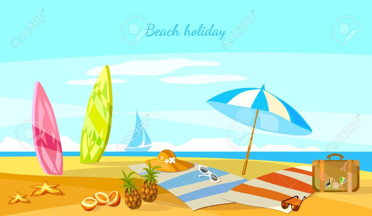 Summer Sunset De Vacances Scene De Plage Tropicale Vacances De Paradis Sur Des Planches De Surf De La Cote Sur Dessin Anime Vecteur De Sable Clip Art Libres De Droits Vecteurs