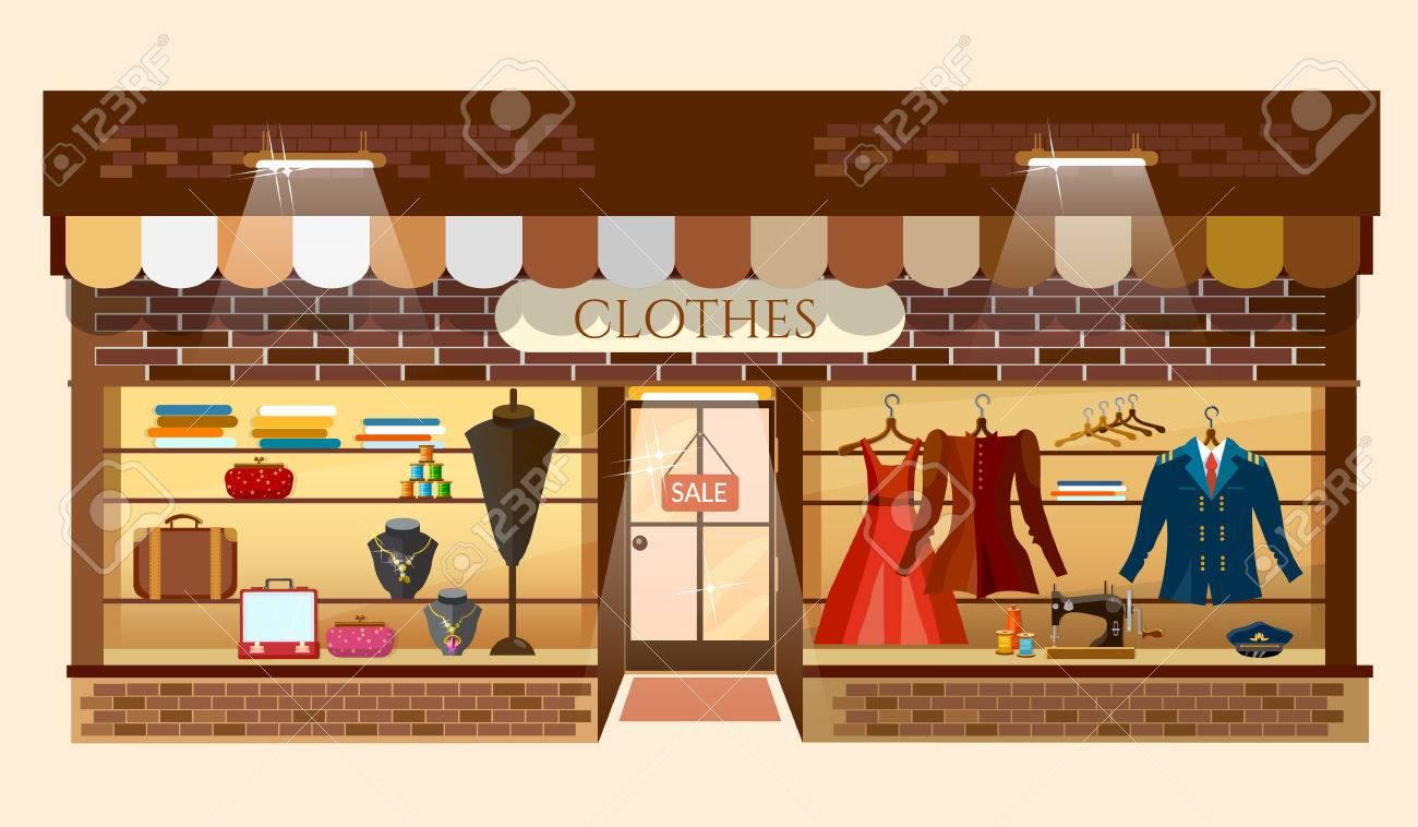 eb975820d3182 Clothes store building facade fashion clothing shop interior women shopping  mall showcase model cartoon vector illustration