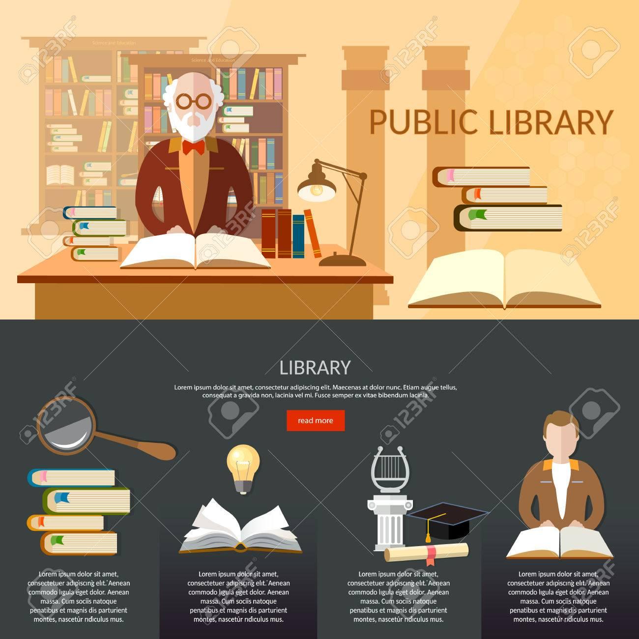 Ffentliche Bibliothek Infografik Elemente Studenten Lesen Bücher ...