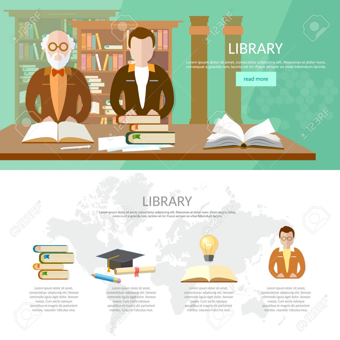 Ffentliche Bibliothek Infografik-Bibliothek Interieur Mit Menschen ...