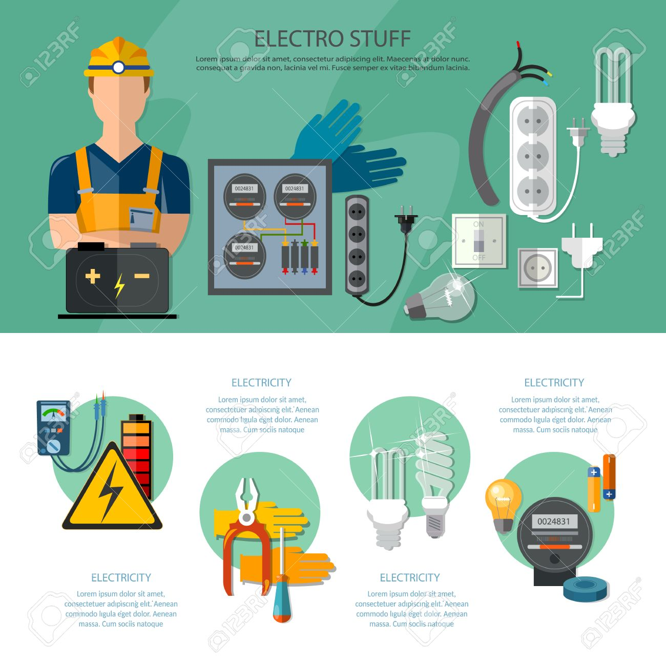 Professional Electrician Infographics Electricity Tools Installation And Repair Electrical Equipment Illustration Stock Vector