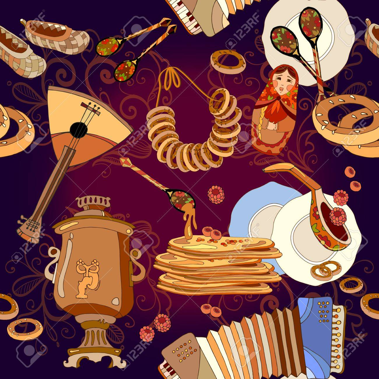 russian cuisine seamless pattern pancakes samovar balalaika russian cuisine seamless pattern pancakes samovar balalaika russian culture and traditions stock