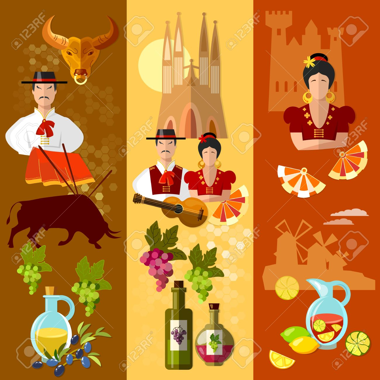 Spain Banner Traditions And Culture Spanish Attractions And People ...