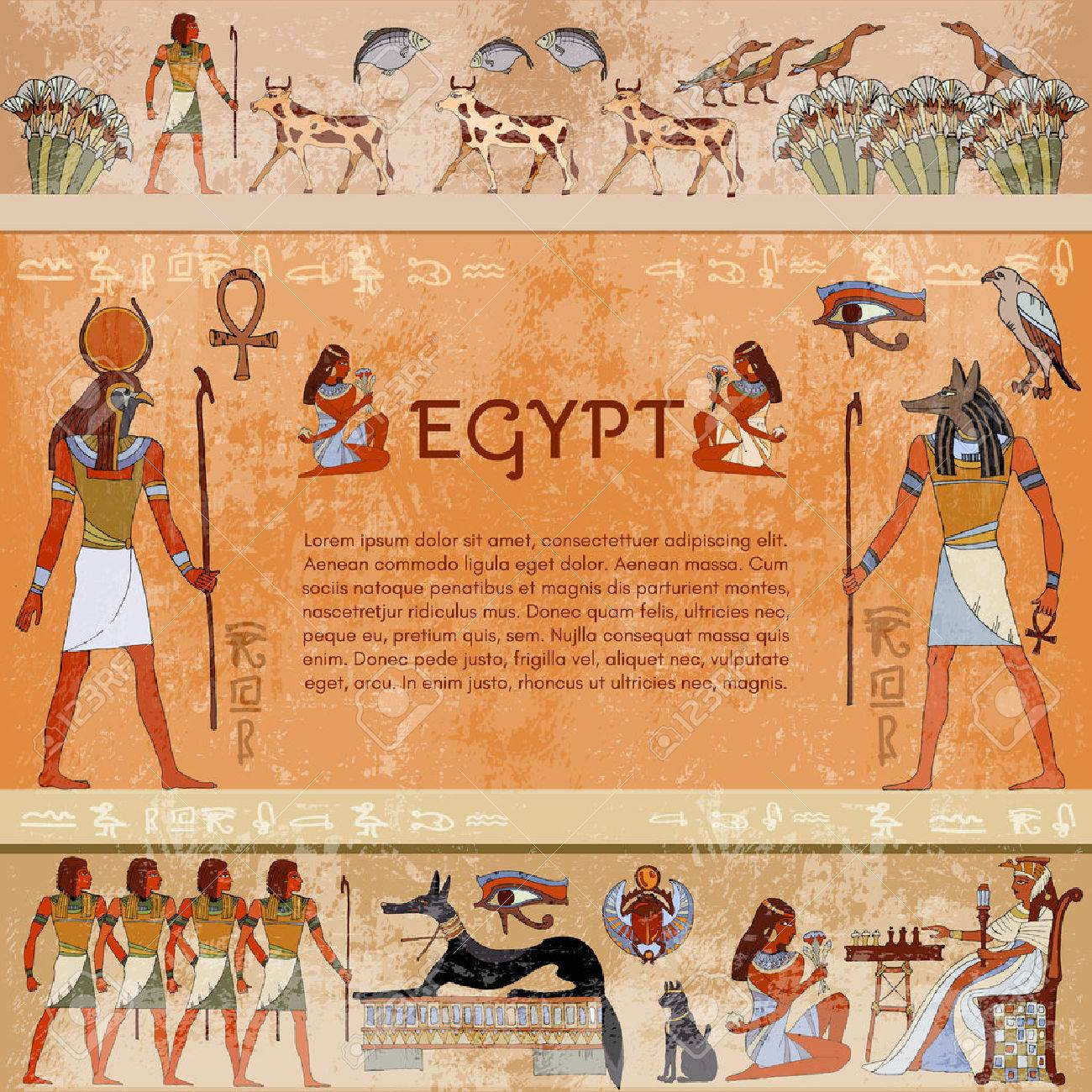 Ancient egypt. Hieroglyphic carvings on the exterior walls of an ancient egyptian temple. Hand drawn vector. Murals ancient Egypt. Grunge ancient Egypt background - 66325369