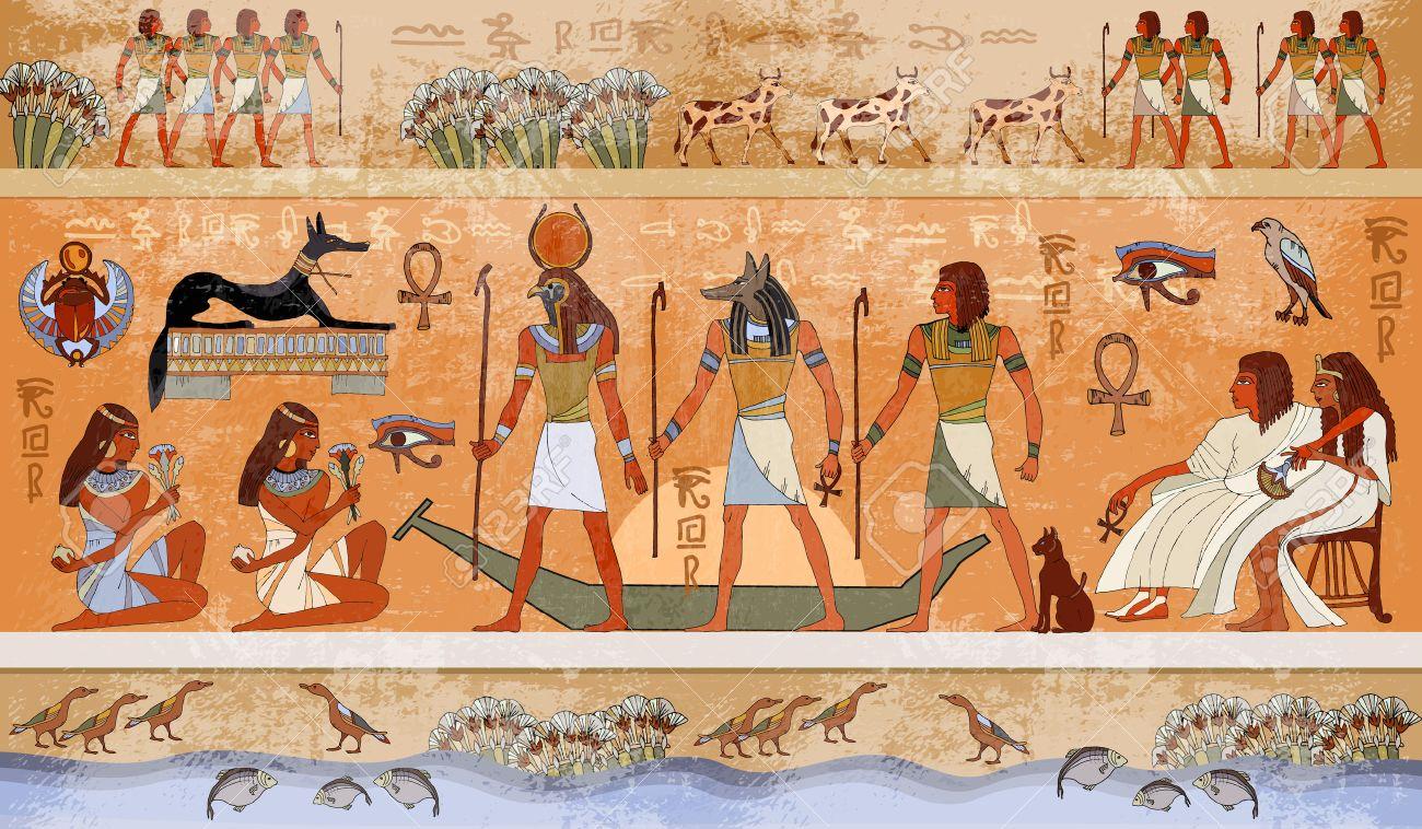Ancient Scène Egypte La Mythologie Les Dieux Et Les Pharaons égyptiens Sculptures Hiéroglyphiques Sur Les Murs Extérieurs D Un Temple Antique
