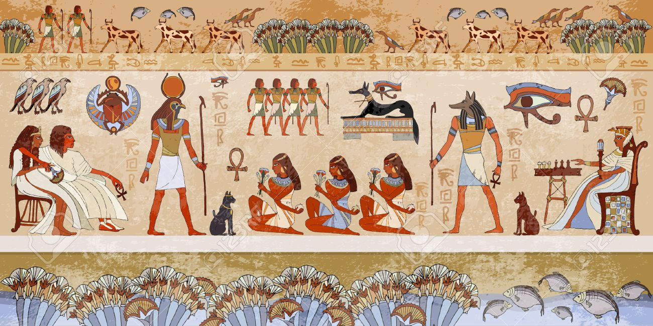 Ancient egypt scene. Hieroglyphic carvings on the exterior walls of an ancient egyptian temple. Grunge ancient Egypt background. Hand drawn Egyptian gods and pharaohs. Murals ancient Egypt. - 66325323