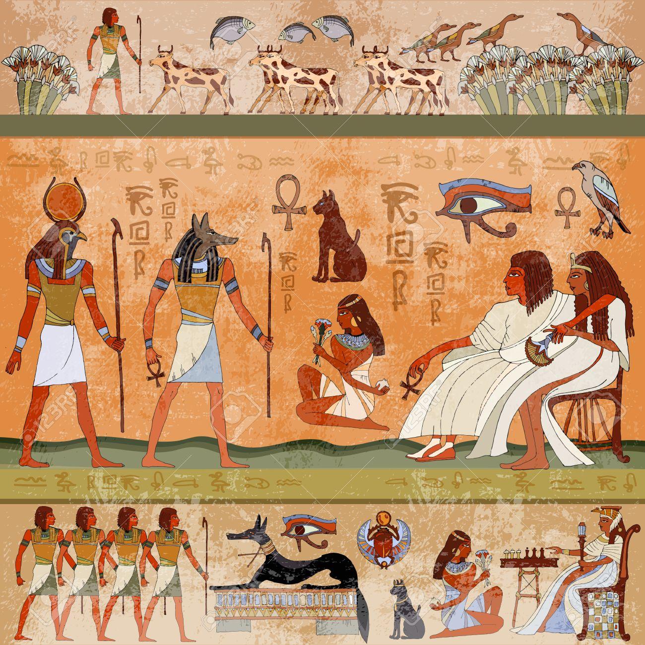 Ancient Scène Egypte Peintures Murales Egypte Ancienne Sculptures Hiéroglyphiques Sur Les Murs Extérieurs D Un Ancien Temple égyptien Grunge