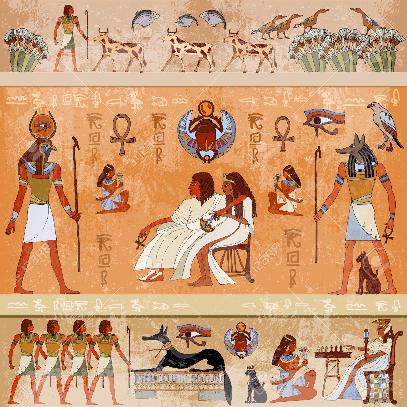 Escena Antigua Mitologia Egipto Dioses Egipcios Y Faraones
