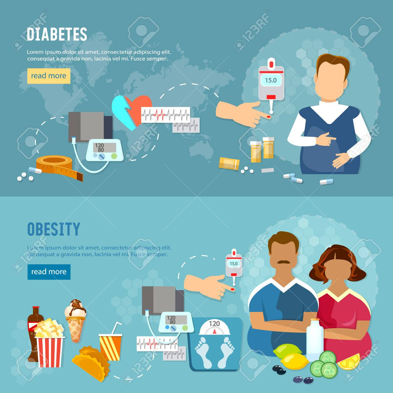 Problems of obesity banner, diabetes, fat man and woman, improper feeding, bad food - 70944704