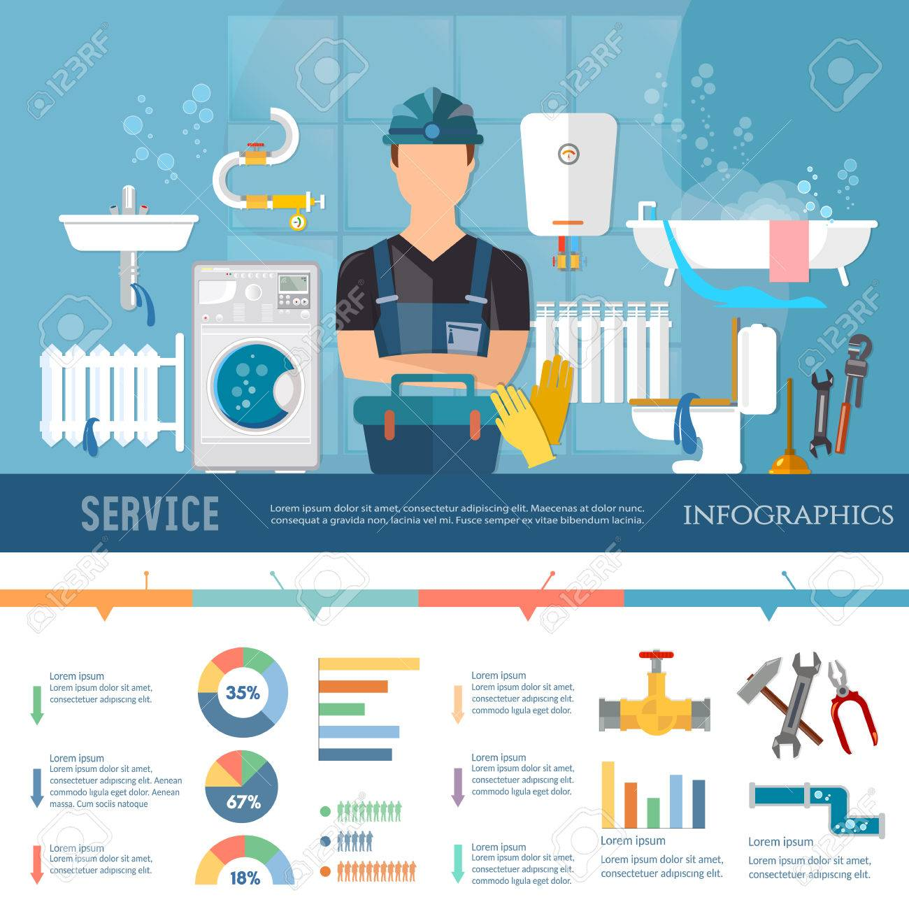 Professional plumber infographic pipe repair elimination of leaks. Plumbing service different tools and accessories infographics call plumber presentation template Archivio Fotografico - 71588513